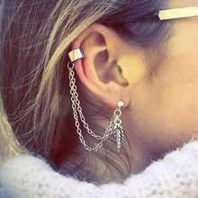 3PCS/LOT Women Cool Rock Punk Leaf Tassel Chain Ear Wrap Cuff Stud Clip Earring