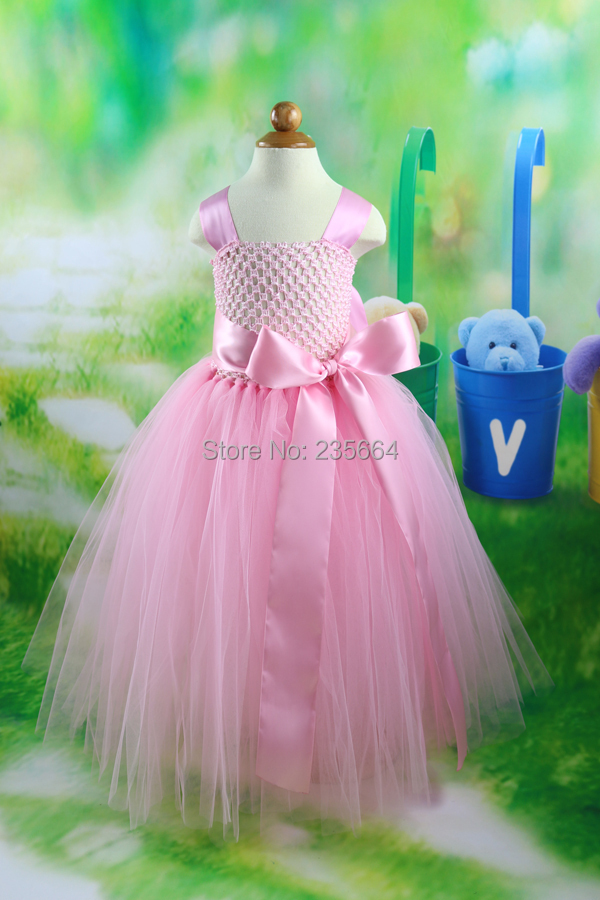 2014 new Girls Dress Princess dress children's wear Party Big bow girl wedding flower Baby girls dress pink tulle Floor Dress julie hyzy buffalo west wing
