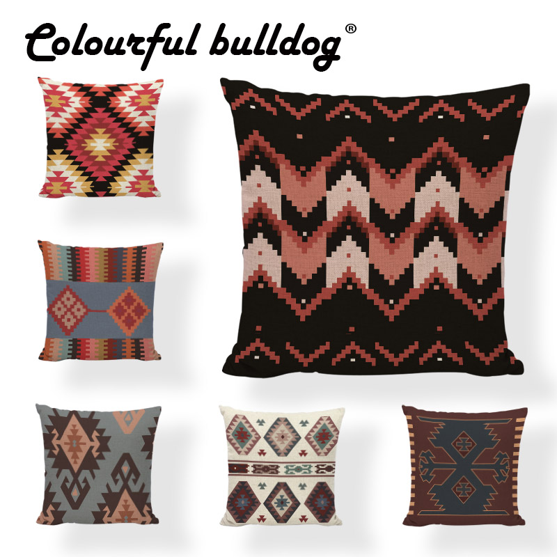 Folk-custom Geometric Pillow Case Striped Dot 17*17Inch Rectangle Trigon Plaid Mandala Cushion Cover Living Room Office Decorate