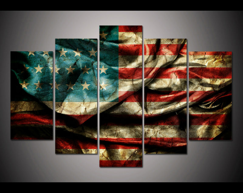 5 panel large poster HD printed painting Retro American flag canvas ...
