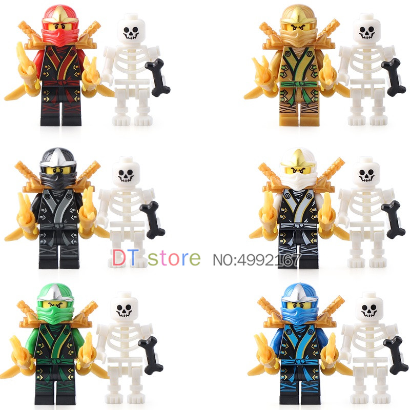 Toys & Hobbies Discreet 50pcs/lot Legoed Moive Golden Ninja Lloyd Jay Cole With Skeletons Weapon Figures Building Blocks Toys Gifts For Kids Ax3001 Blocks