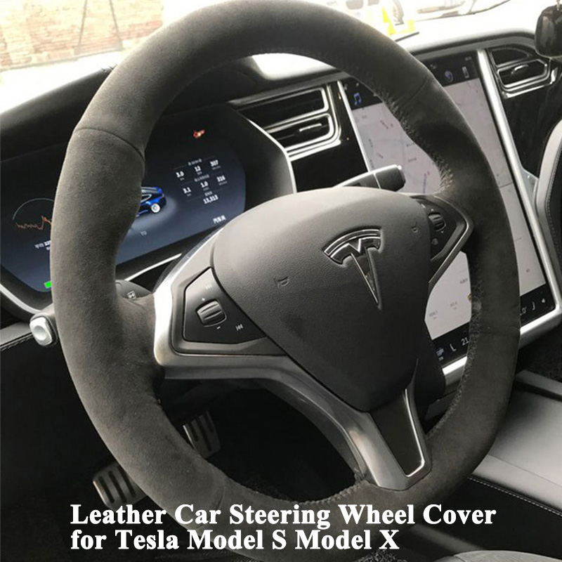 1pc Hand stitch Sewing Leather Car Steering Wheel Cover Sporty Decoration as supercar car accessories for
