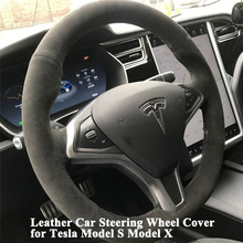 1pc Hand stitch Sewing Leather Car Steering Wheel Cover Sporty Decoration as supercar car accessories for Tesla Model S X