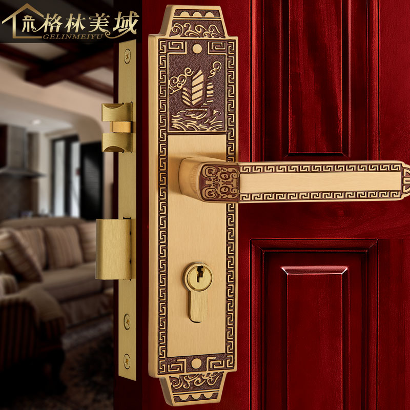 все цены на Pure copper Chinese interior bedroom solid wood door lock villa European full copper door lock solid wood door lock
