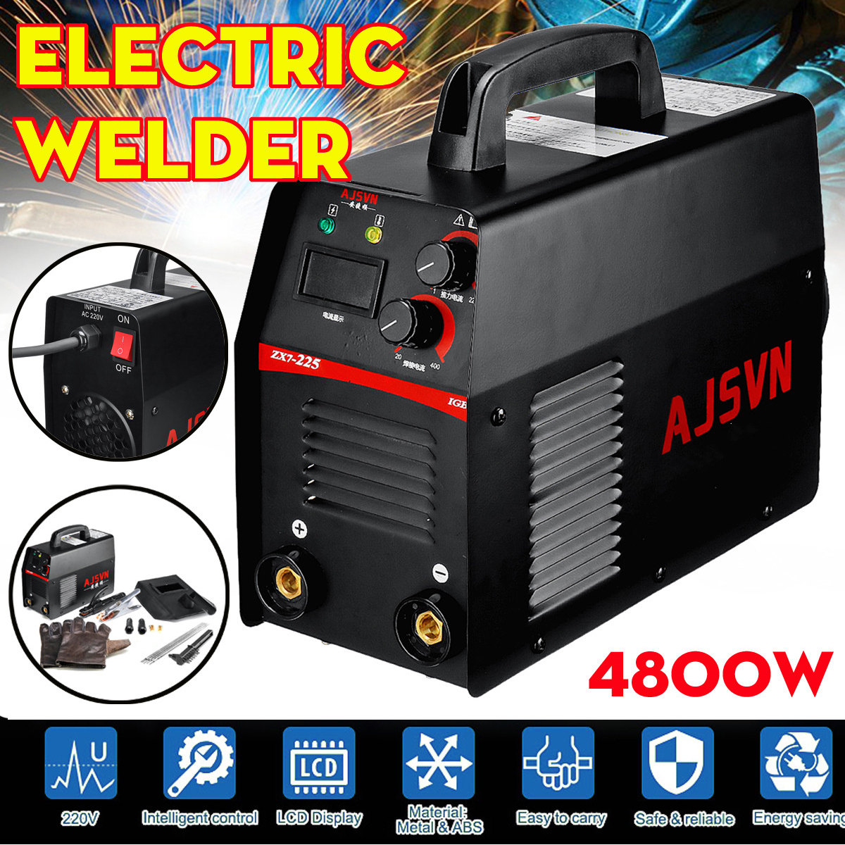 20A-225A 5000W Handheld IGBT Inverter Arc Welder-Welding Machine Digital Display Mini Portable Welding Tool20A-225A 5000W Handheld IGBT Inverter Arc Welder-Welding Machine Digital Display Mini Portable Welding Tool