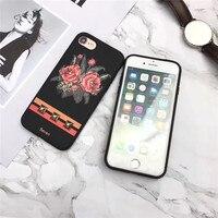 Lüks Yumuşak Silikon 3D Çiçek Baskı Cep Telefonu Kılıfı Için iPhone6 6 S 7 7 ARTı GÜL Plastik Koruyucu Kabuk Coque Funda kapak