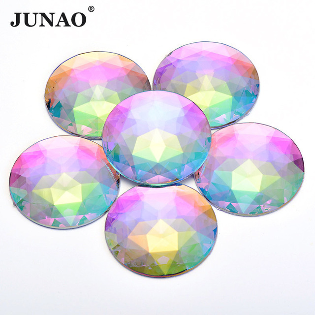 JUNAO 52mm Big Round Crystal AB Rhinestone Applique Flat Back Acrylic Gems  Large Clear Crystal Stones Non Sewing Scrapbook Beads 344c8803c704