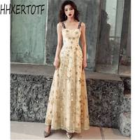 2019 summer Women's High end banquet noble temperament Celebrity Party dress Sling Mesh Lace Embroidered Long Sexy Dress