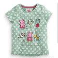 2016 Nova Meninas T-shirt Dos Miúdos T-shirt Do Bebê Menina Da Marca T camisas Crianças T-shirt de Manga Curta 100% Algodão Verão Dos Desenhos Animados Menina camisetas