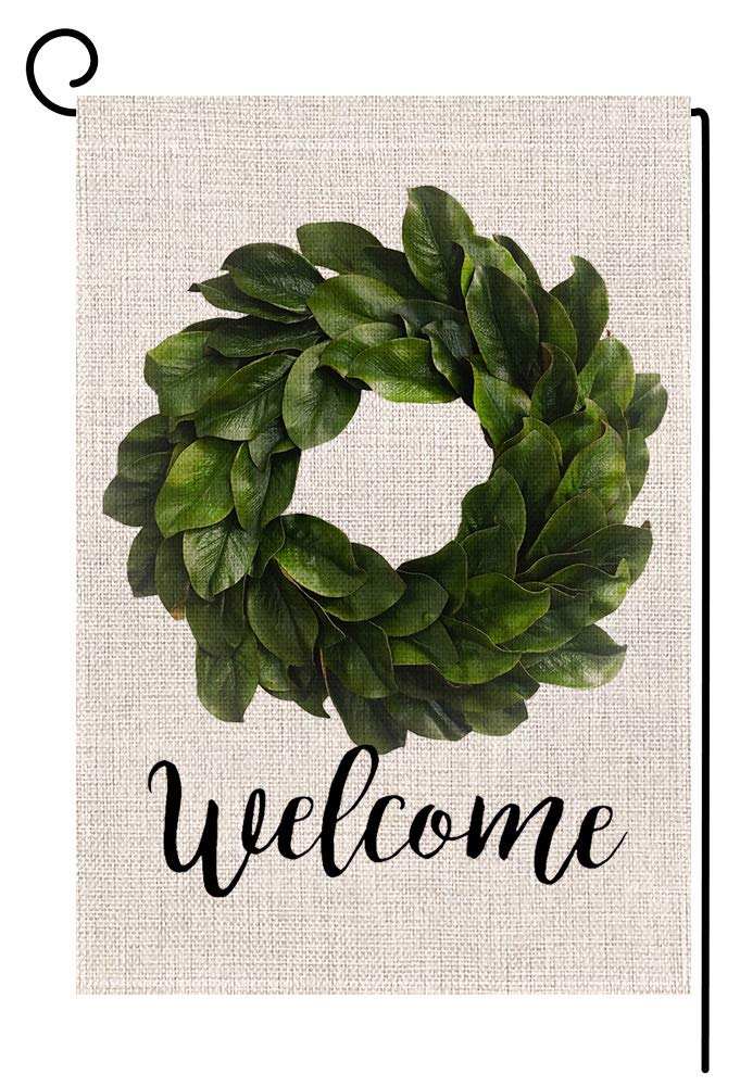 Welcome Magnolia Leaves Wreath Small Garden Flag Vertical