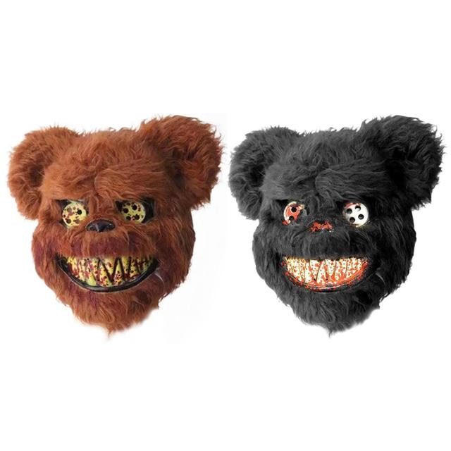 2019 New Bloody Teddy Bear Mask Masquerade Scary Plush Mask Halloween Performance Props Fashion Halloween Supplies 3
