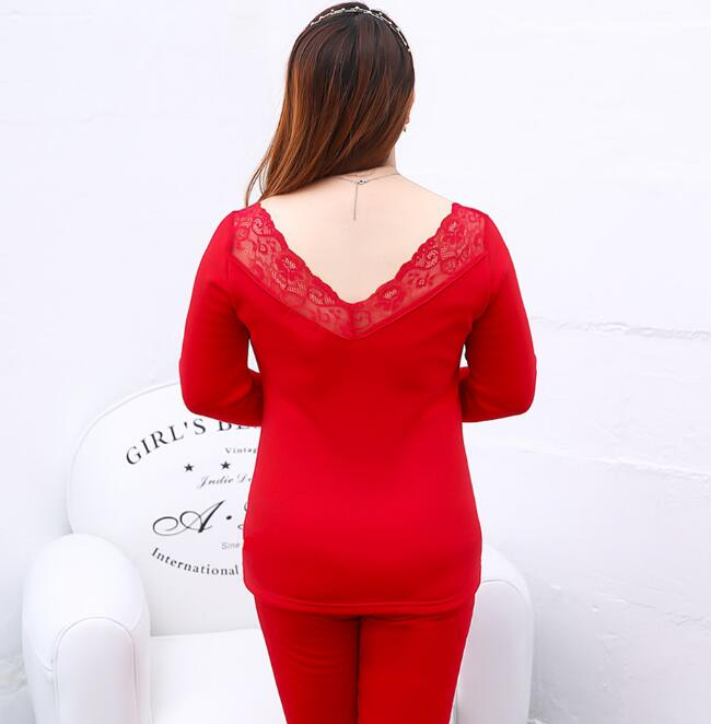 Women's Sexy V Neck Inner Wear Suit Lady's Slim Elastic Top And Pants Intimates Plus Size XL~3XL Tb075