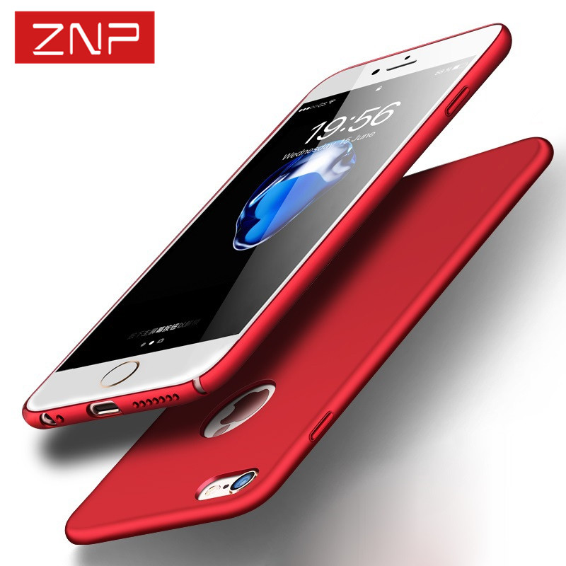 Znp lujo trasera dura plástica mate case para iphone 7 7 plus rojo casos para ip