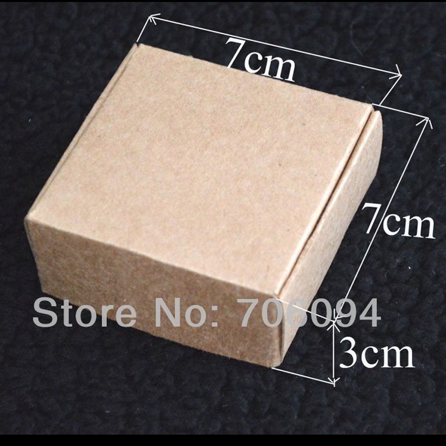 7*7*3CM,100pcs/lot, Free Shipping Jewerly kraft paper box Brown kraft handmade gift boxe ...