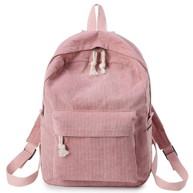 Розовый Женский Рюкзак Kanken Путешествия Рюкзак из мягкой ткани женские вельветовые портфель для девочек-подростков полосатый рюкзак