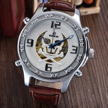 GOER марка Мужчины спортивные часы цифровой череп мужская механическая автоматическая наручные часы Моды водонепроницаемой кожи Световой Скелет
