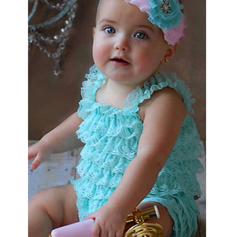 1f8f44f8f goods Cute baby boys and girls petti lace romper newborn Infant Jumpsuit  kids rompers children clothing RM1605021 goods