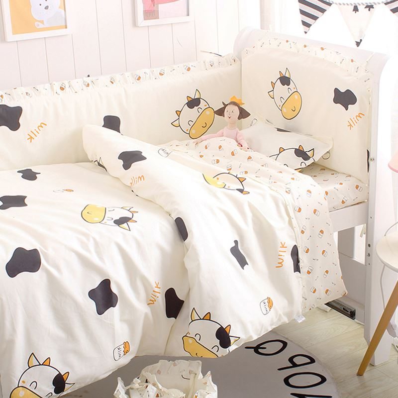 6/9PCS Cow Baby Sleep More Comfortable Cotton Baby Cot Protector Baby Bedding Sets baby blanket sheet protetor de berço|baby bedding set|bedding set|cotton baby bedding sets - title=