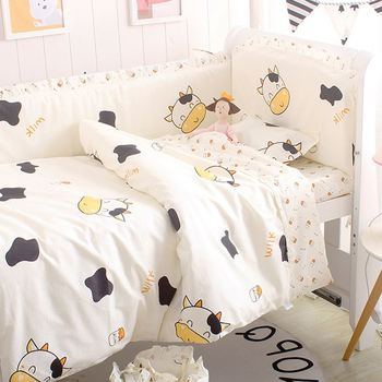 6/9PCS Cow Baby Sleep More Comfortable Cotton Baby Cot Protector Baby Bedding Sets baby blanket sheet protetor de berço