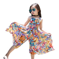 2017 Brand Bohemia Children Dress Girls Summer Floral Party Dresses Toddler Clothing Kids 10 14 Years