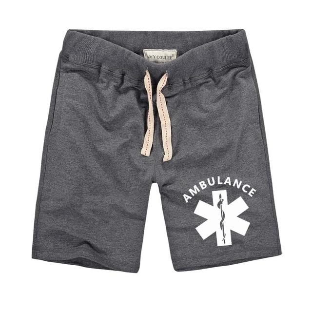 Hommes Shorts motif flocon de neige avec AMBULANCE lettre imprimé décontracté ceinture élastique hommes marque vêtements Shorts 2020 mode