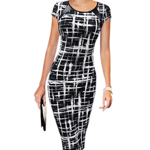 New Arrival Women Sexy Bodycon Short Sleeve Party Cocktail Slim Knee-Length Pencil Dress