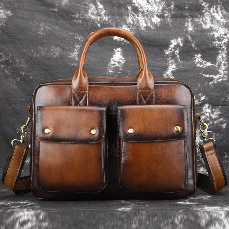 Men Genuine Leather Bag High Quality  Business Messenger Shoulder  Bags Top Handle Bag Tote Briefcase Cross Body Bag HandBags N