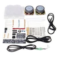 LEORY 1 Set Portable DIY Computer Speaker Parts Transparent Acrylic Electronic Spectrum LED Flash Kit DIY