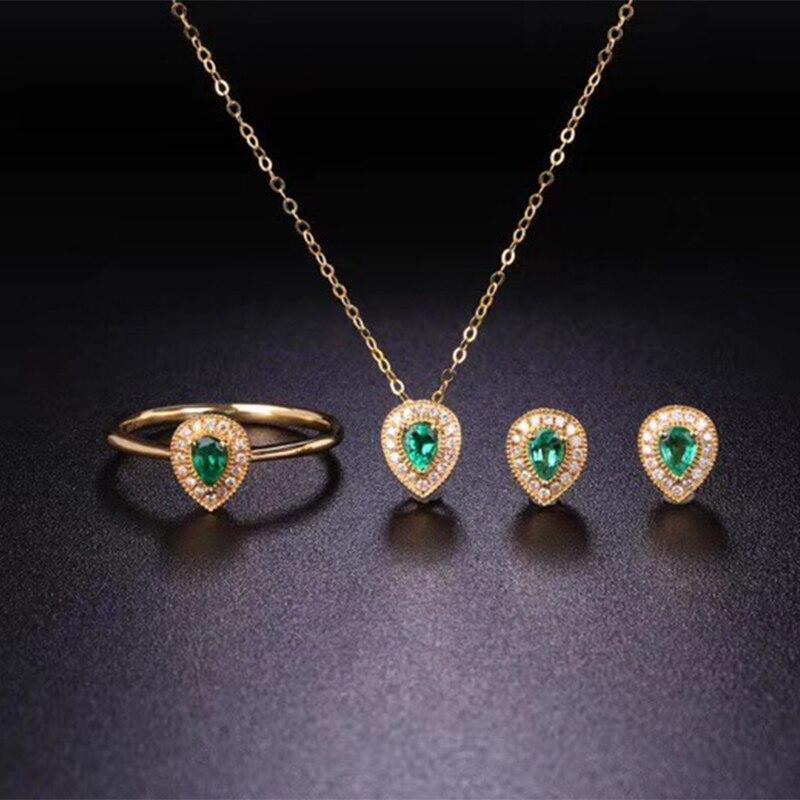 ANI 18 К желтого золота (AU750) изумрудный Для женщин Обручение Свадебные украшения комплект природных алмазов кольцо Цепочки и ожерелья Свадебн
