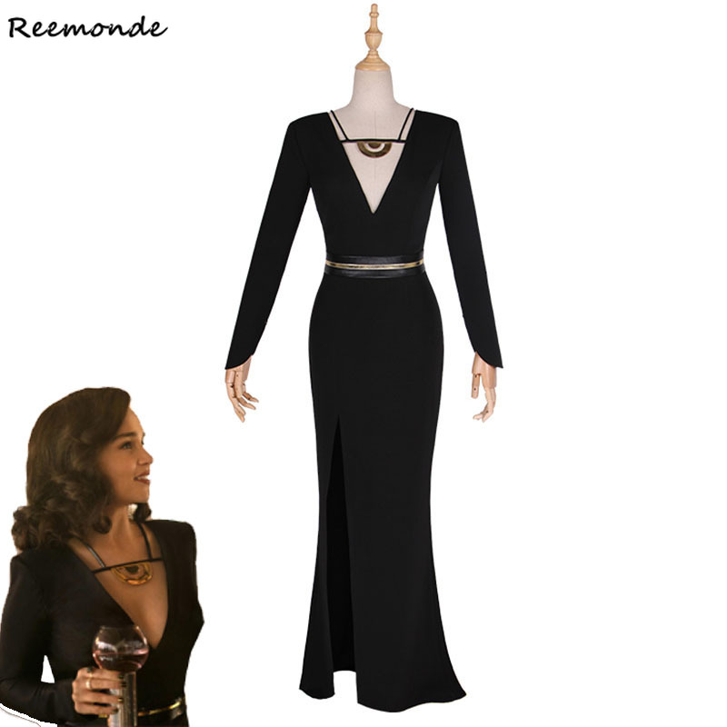 Movie Solo: A Star Wars Story Qi'ra Cosplay Costume Sexy Black Dresses Dragon Daenerys Targaryen Halloween Outfit Adult Woman