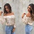 Sexy sequin tassel mesh bodysuit Women off shoulder long sleeve blouse shirt Autumn party club elegant jumpsuit romper