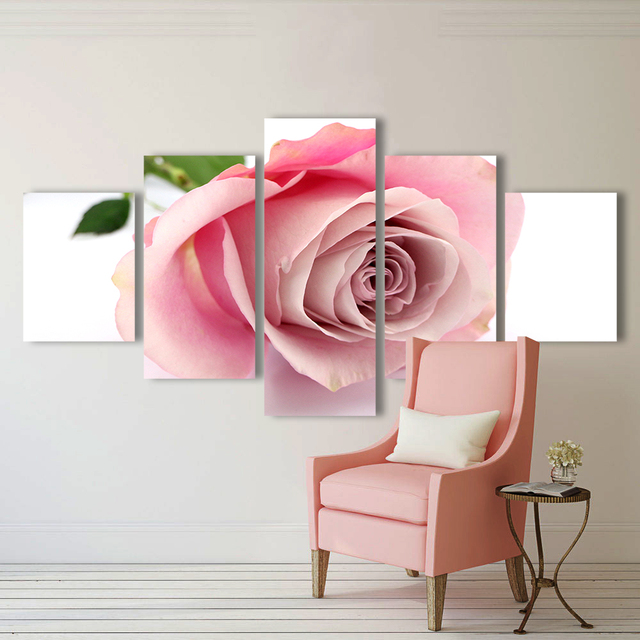 Aliexpress.com : Buy QKART 5 Pieces Flower Painting Pink Rose Canvas ...