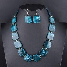 Квадратный полимерный кулон с бусинами, ювелирный набор для женщин, цепочка на веревке, массивное ожерелье, акриловые геометрические серьги, ювелирное изделие
