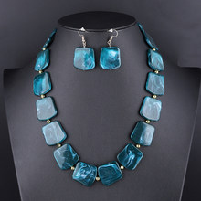 Square Resin Pendant Beads Jewelry Set For Women Chain Rope Statement Necklace Acrylic Geometric Earrings Jewelry Bijoux(China)