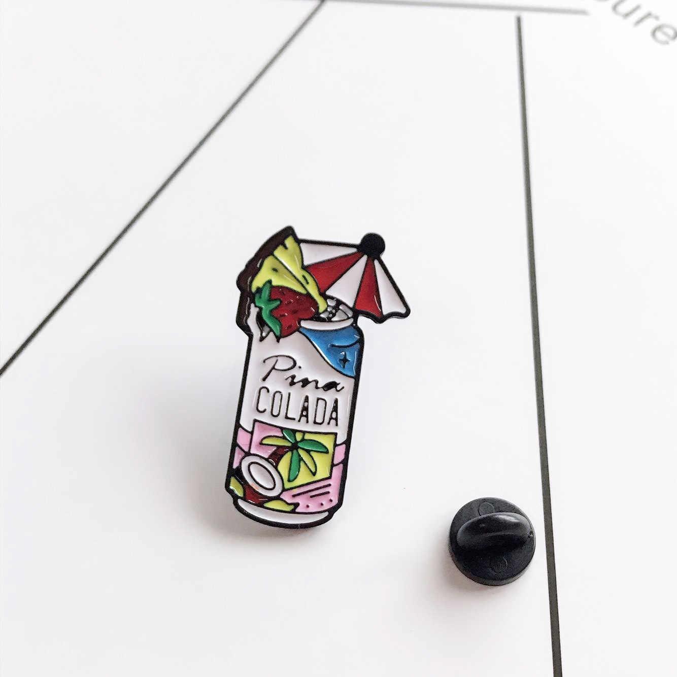 Del fumetto Da Cocktail Spille Per Le Donne Spille UN COLADA di Cocco Grove Fragranza Da Cocktail Spilla Smalto Spille Giubbotti jeans Collare Distintivo