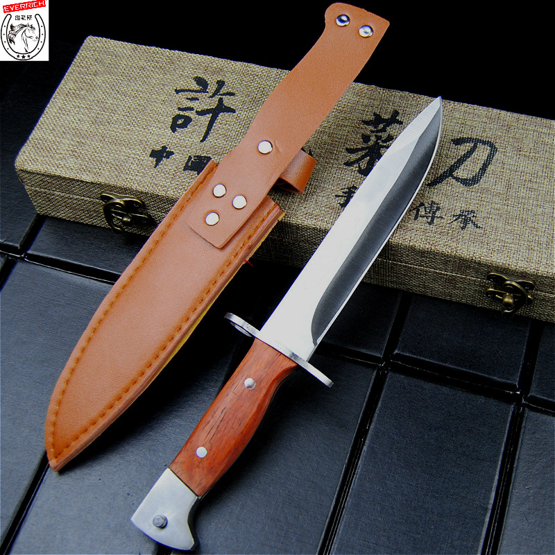 MILITARY HUNTING <font><b>KNIFE</b></font> Fixed Blade Combat Wood Handle Camping Survival Tool <font><b>Wilderness</b></font> Tactical Bowie <font><b>Knives</b></font> High Quality image