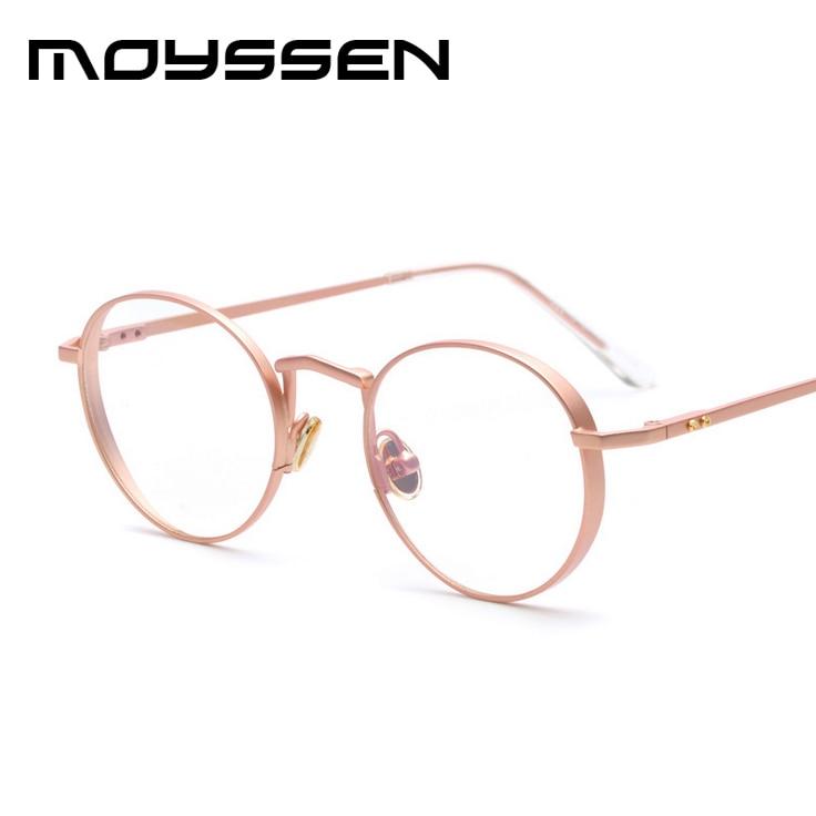 moyssen high quality women metal retro round frame rose gold eyeglasses fashion myopia optical eyewear glasses
