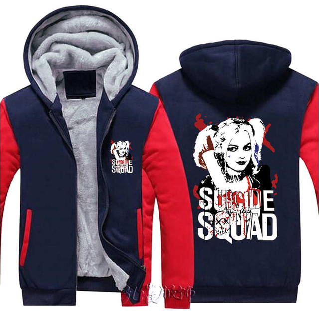 Dropshiping USA size Suicide Squad Harley Quinn Joker Cosplay Coat Hoodie Winter Fleece Unisex Thicken Jacket Sweatshirts