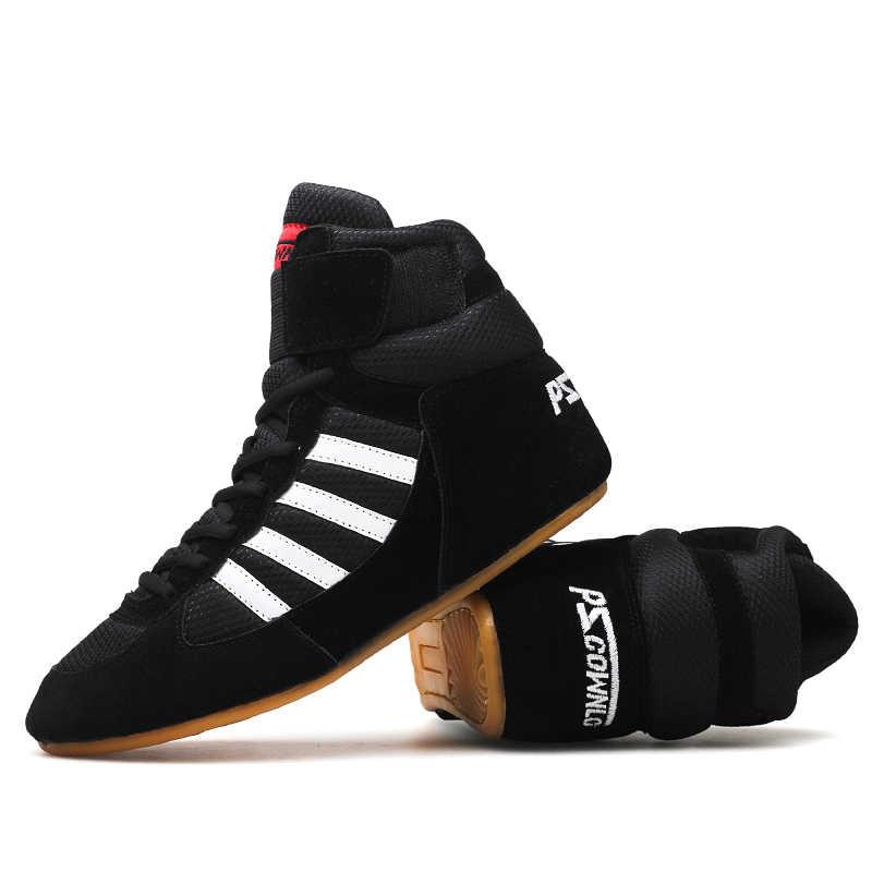 المهنية الملاكمة أحذية مصارعة المطاط تسولي تنفس الأحذية القتالية أحذية رياضية Scarpe Boxe أومو حجم 36-46 أحمر أزرق أسود