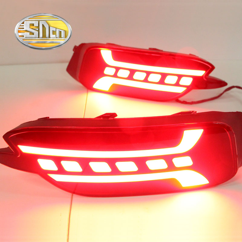SNCN Multi-functions Car LED Rear Fog Lamp Brake Light Rear Bumper Light Decoration Lamp Reflector For Honda Civic 2016 2017