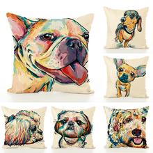 45*45 cm Painted Dog Creative Linen Puppy Cushion Pillowcase Office Lumbar Pillow Case Home Party Textile Pillow Birthday Gift