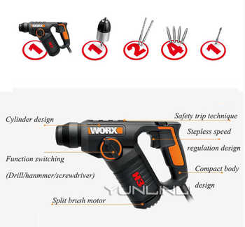 Multi-function Electric Hammer Drill Wall Concrete Impact Drill 3-in-1 AC Electric Rotary Hammer With Free Drill Bits WX346