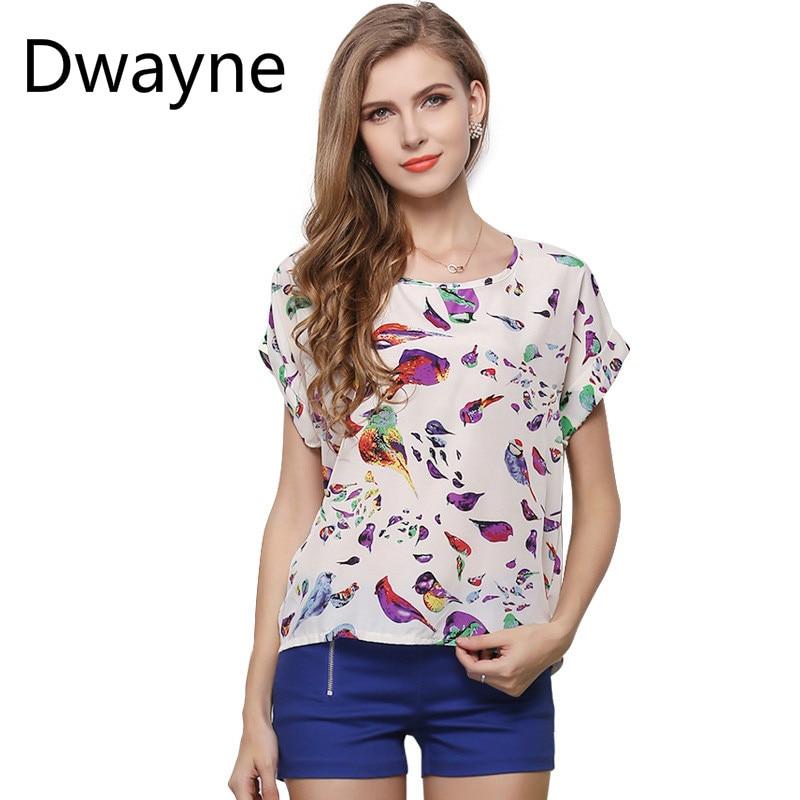 Floral Polyester Popular Style Of Summer Women Shirt Large Size Coat Bird Printing T-shirt Short-sleeved Chiffon Shirt Tops Tees