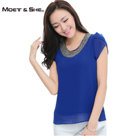 XS 4XL EU 2013 New Fashion Women Loose Big Size Chiffon Casual Vintage Blouses Beading O