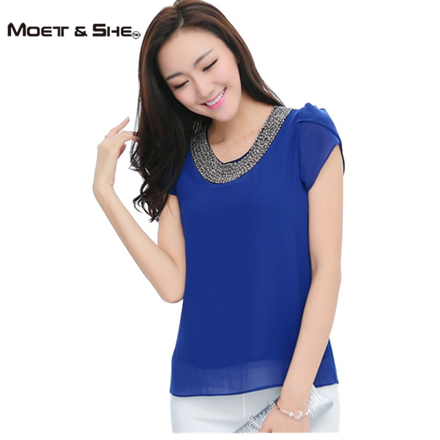 Exclusive 9 Color S-4XL New Blouses Women Loose Chiffon Casual Beading Blouse Pullover Shirt Tops Chemise Femme Big size #1006