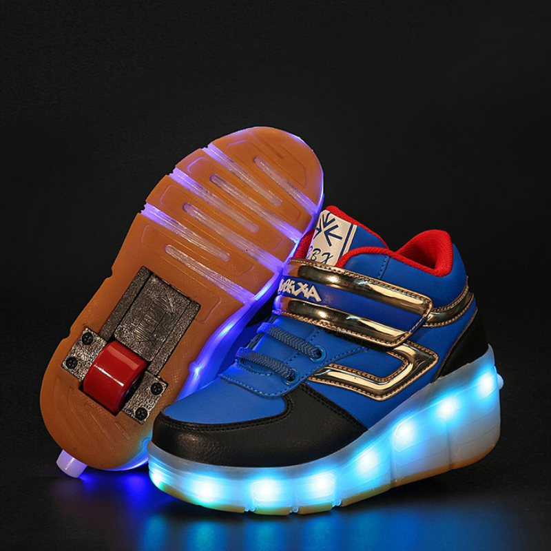 ФОТО New 2017 Child Girls Boys LED Light Roller Skate Shoes With Wheels Fashion For Children Kids Sneakers BZX