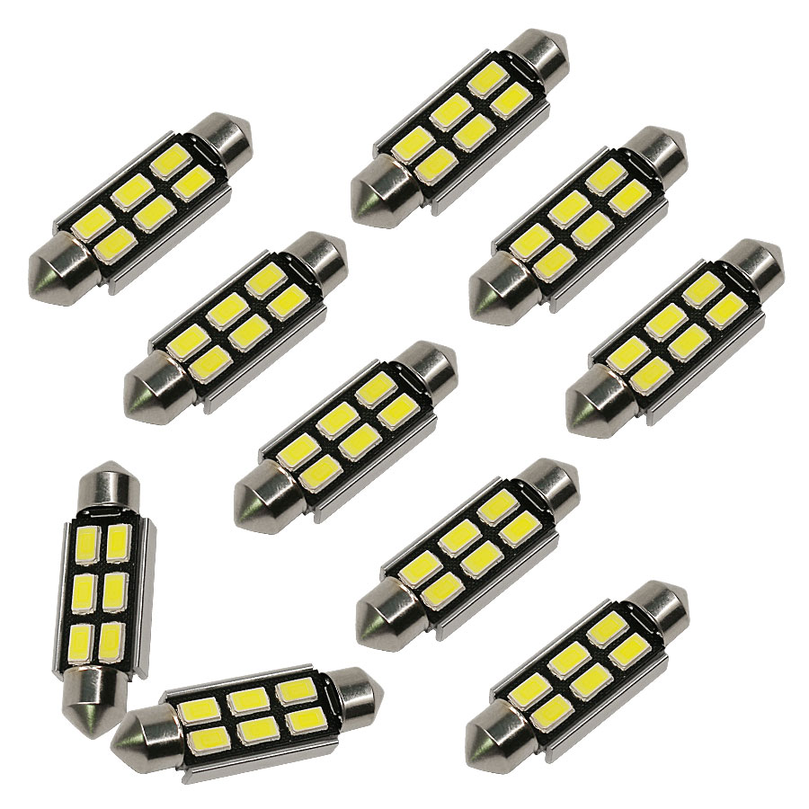 10PCS Festoon CANBUS 31/36/39/41mm C5W ERROR 5630 6 LED SMD Interior White Dome Light Roof Bulbs New 4pcs high quality festoon c5w white 31 36 39 42mm 4014 led canbus error free bulb car interior reading dome light doom lamp new