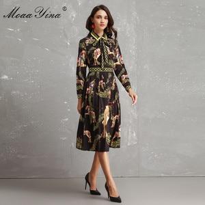 Image 2 - MoaaYina Fashion Designer Runway Dress Autumn Women Long sleeve Bowknot Animal Printed Slim Vintage Black Elegant Draped Dress