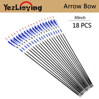 18PCS 30 Inch Carbon Arrow Blue Turkey Feather With Replaceable Arrow Tip For Bow For Shooting Recurve Bow Archery