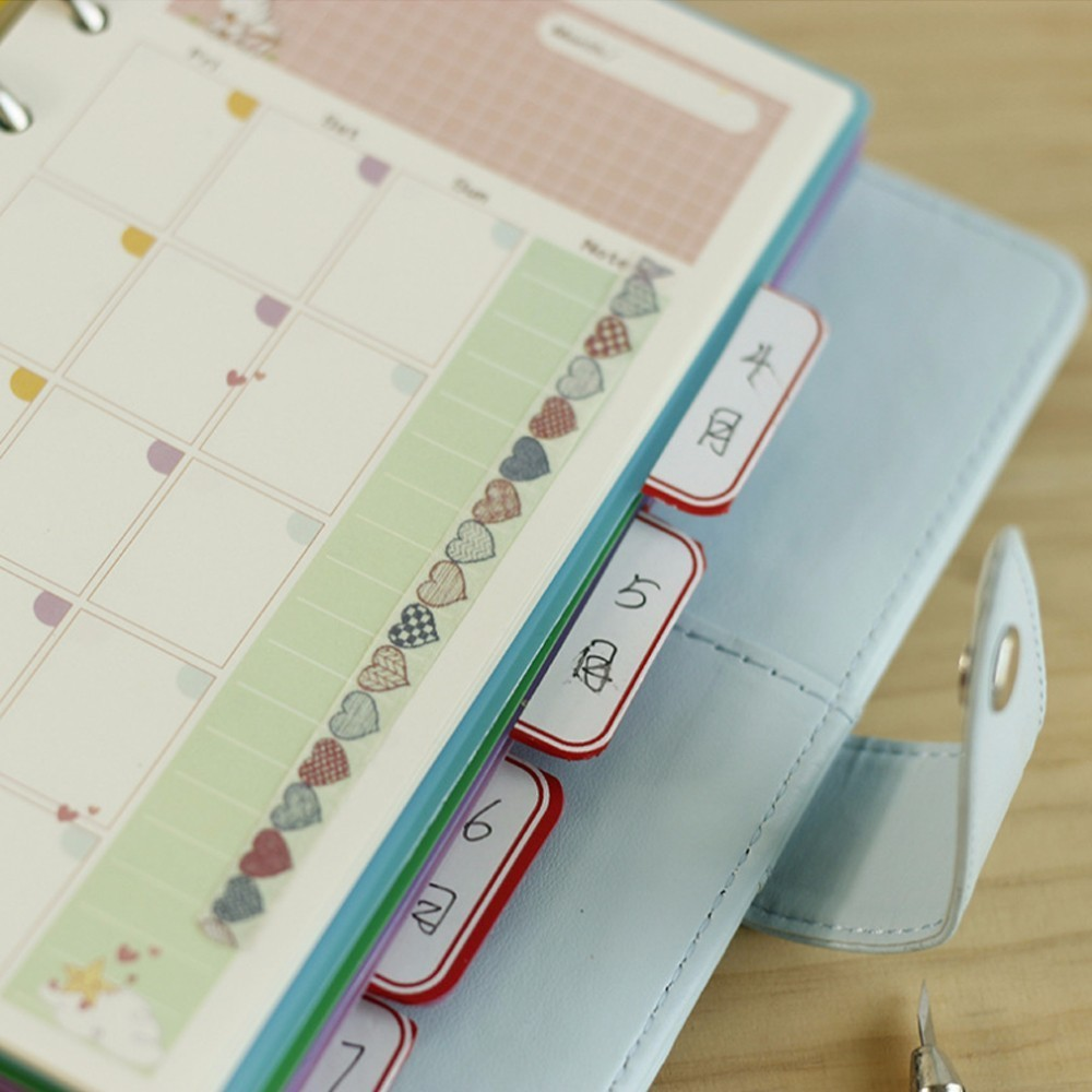 5 PCS/LOT Colorful Transparent PP Separator For Rings Notebook 6-hole Index Page A5 A6 Loose Leaf Diary Categories Clapboard Karachi